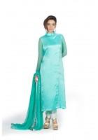 Turquoise/White Silk Chiffon Suit