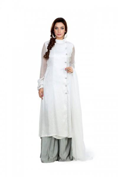 Grey/White Silk Chiffon Trouser Suit