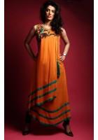 Orange Thread Embroidered Linen Suit