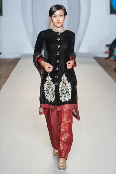 Black Red Velvet Jamawar Suit