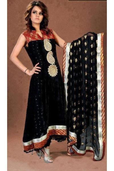 Black Jamawar Chiffon Suit