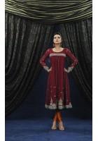 Maroon Jamawar/Chiffon Suit
