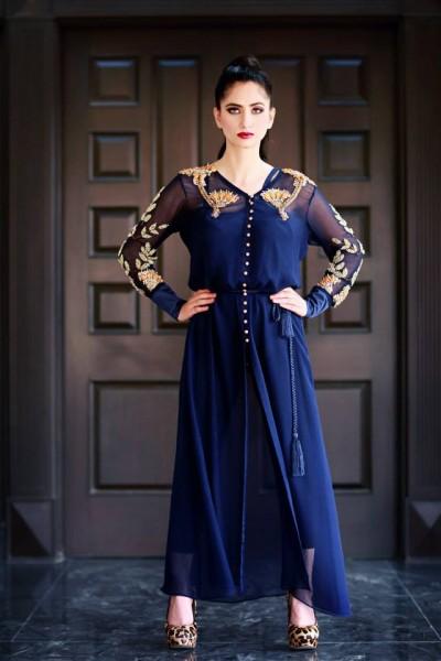 Royal Blue Pure Chiffon Front Open Style Suit