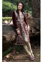 Maroon Thread Embroidered Front Open Velvet Suit