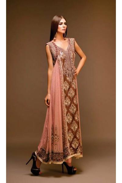 Brown/Tea Pink Chiffon Suit