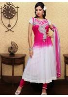 White/Shocking Pink Pure Chiffon Frock Style Suit
