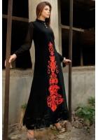 Black Crinkle Chiffon A-Line Suit