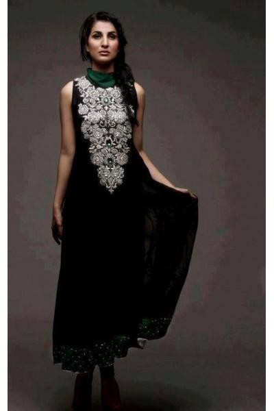 Dark Green Crinkle Chiffon Salwar Kameez Suit