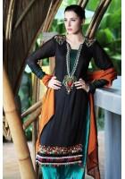 Turquoise/Black Chiffon Suit