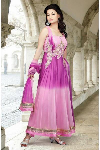 Purple/Baby Pink Crinkle Chiffon Suit