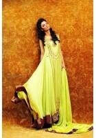 Lime Green Crinkle Chiffon Anarkali Suit