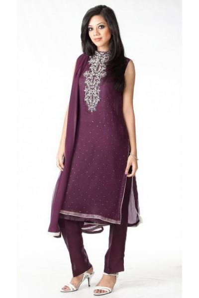 Dark Purple Georgette Suit
