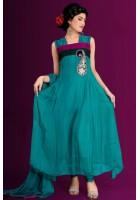 Turquoise Chiffon Suit