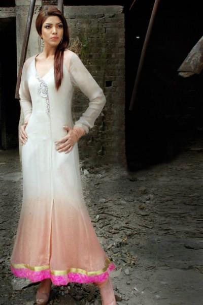 Peach/White Chiffon Suit